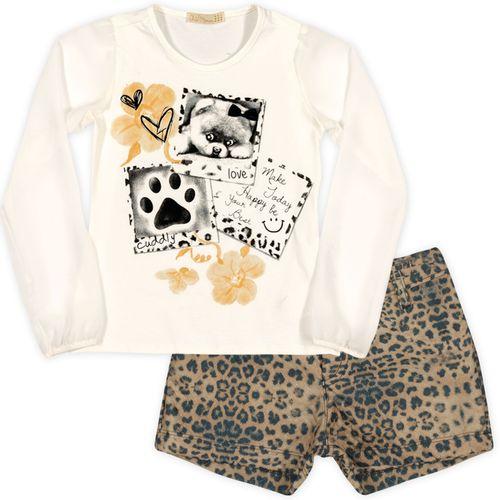 Conjunto – Camiseta Manga Chiffon e Short Oncinha – Arte Menor – Menina – Malha – Oncinha – 6