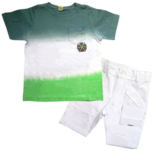 Conjunto – Camiseta  Degradê e Bermuda – Gira Baby – Menino – Malha – Verde – 8