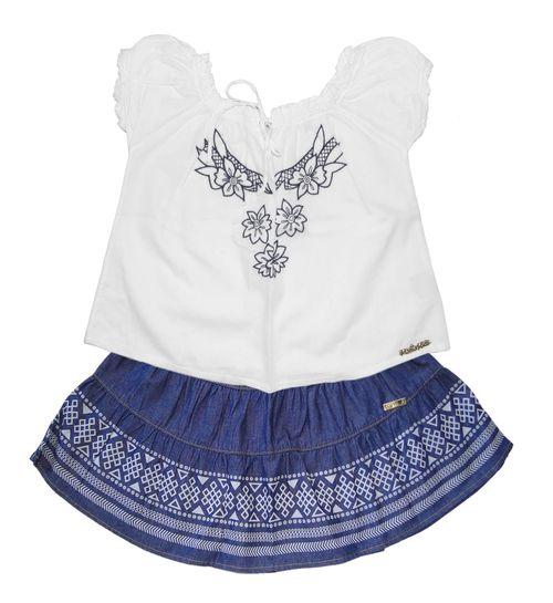 Conjunto – Bata e Short  com Cinto – Mania – Menina – Jeans – Branco – 8