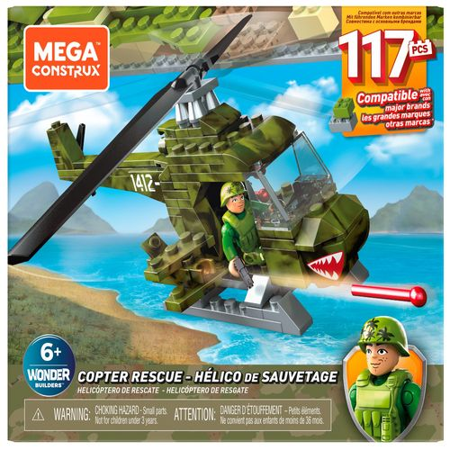 Blocos De Encaixe - Mega Construx - Wonder Builders - Helicóptero Militar - Mattel