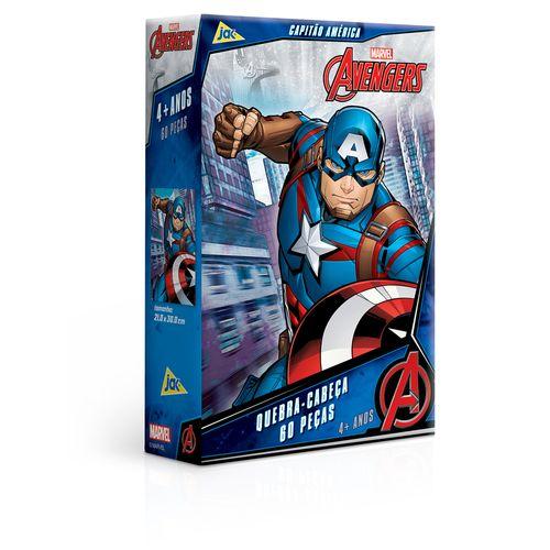 Quebra-Cabeça - 60 Peças - Disney - Marvel - Os Vingadores - Capitão América - Toyster