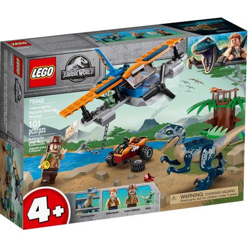 LEGO Jurassic World - Velociraptor - Missão De Resgate Com Biplano - 75942