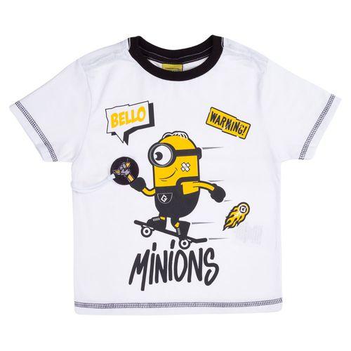 Camisa Manga Curta - Estampa Minions SK8 - 100% Algodão - Branco  - Minions