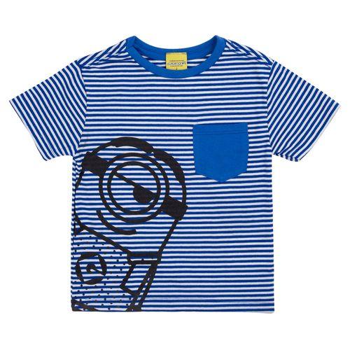Camisa Manga Curta - Listrada - Algodão e Poliéster - Azul - Minions