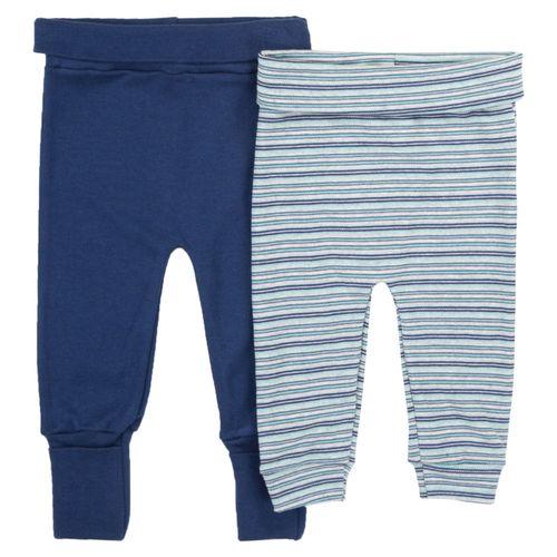 Conjunto de Calças com Culote - 2 Peças - 100% Algodão - Azul Marinho - Minimi