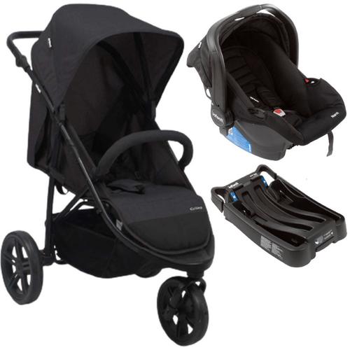 Carrinho de Bebe Infanti Collina com Bebe Conforto e Base Preto Black Style