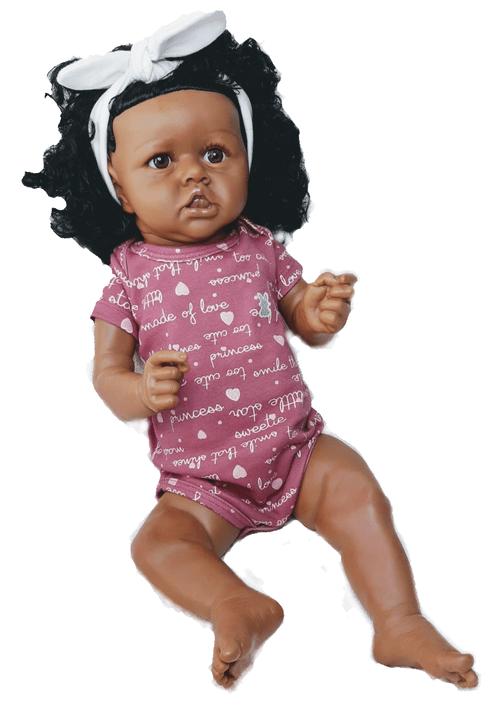 Boneca Bebê Reborn Maria Flor, 55 cm, Corpo Inteiro Silicone e Vinil