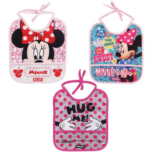 Kit de Babadores com Porta Migalhas - Disney - Minnie - Baby Go