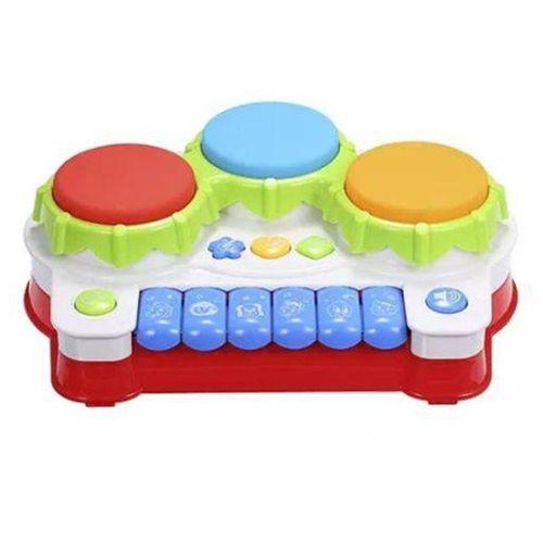 Piano Musical Infantil Três Tambores com Luzes e Músicas - Braskit