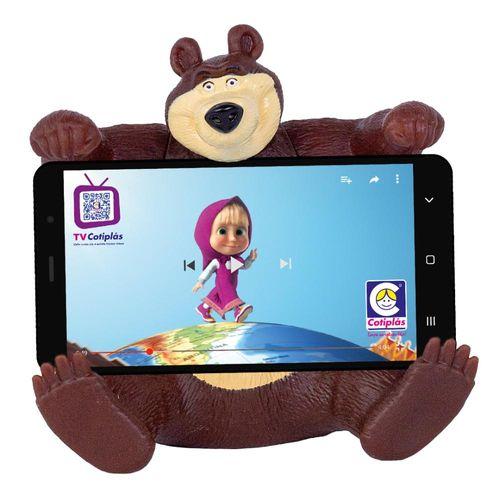 Boneco e Suporte de Celular - Masha e o Urso - Urso - Cotiplás