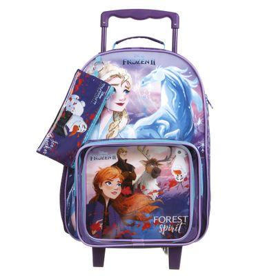 Conjunto Volta às Aulas - Mochila com Rodinhas, Lancheira e Estojo - Disney - Frozen 2 - Dermiwil