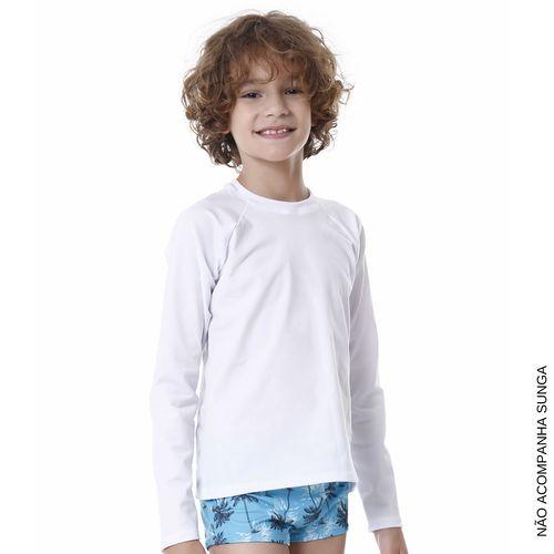 Camiseta -Proteção Solar - Manga Longa – Ceci Menino – Nylon – Branco