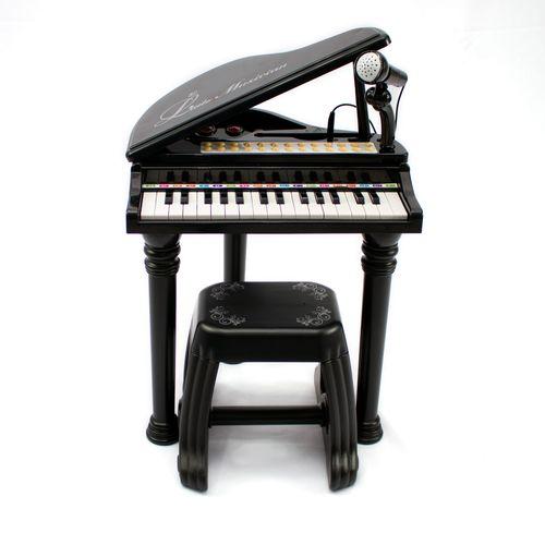 PIANO TECLADO INFANTIL MICROFONE BANQUINHO MC421P