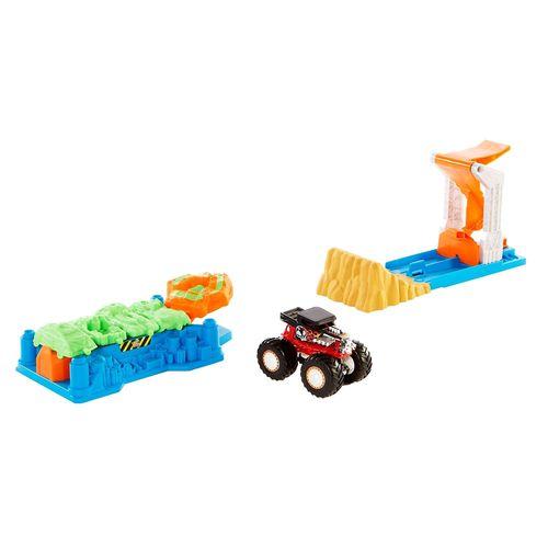 Pista de Percurso - Hot Wheels - Monster Trucks - Lança e Esmaga - Mattel